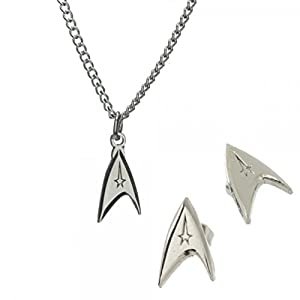 Star Trek Command Silver Color Necklace and Stud Earring Jewelry Set Licensed