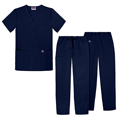 Sivvan Unisex Classic Scrub Set V-neck Top / Drawstring Pants (Available in 12 Solid Colors) - S8400 - Navy - XL (Mesh Side Scrubs compare prices)