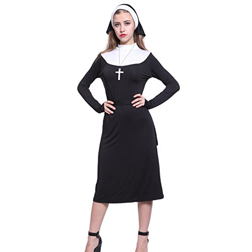 Gothic Ladies Nun Sister Holy Habit Religion Fancy Dress Costume