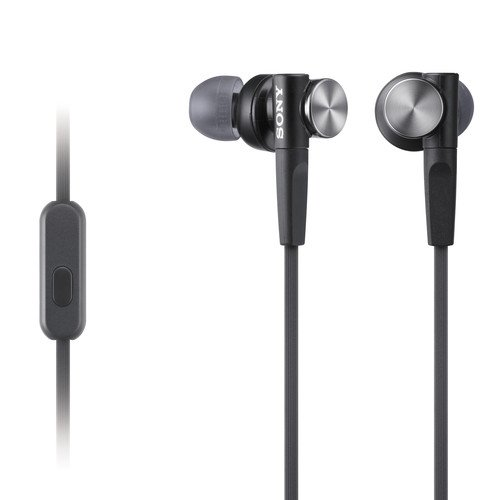 Sony Premium Lightweight Extra Bass Noise-Cancelling Earbud Headphones With In-Line Microphone And Remote For Android Smartphone (Black)