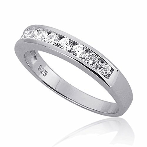 Sterling Silver Channel Set Round CZ Stackable Wedding Band Engagement Ring, Rhodium Plated -Size: 7