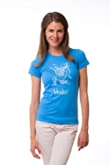 Bhakti Hanuman T-Shirt- Women's Blue and Coral