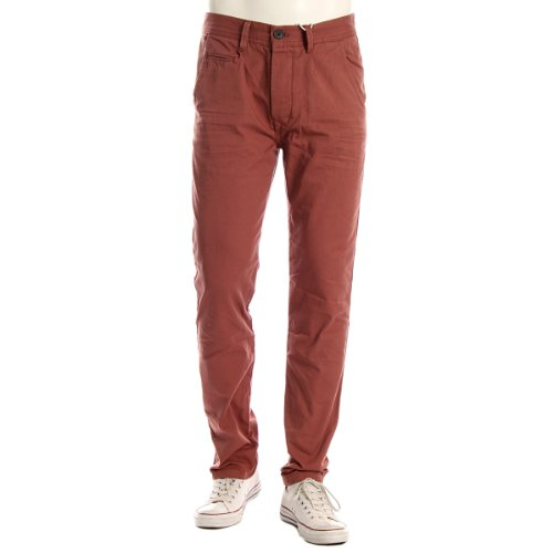 Mqt Jeans Mens Robert Tapered Chino Trousers - Rust - 32 L