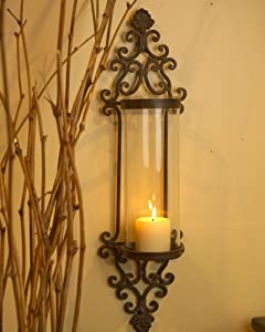 Large Iron Wall Sconces : Amazon.com: Large Glass/Iron Wall Candle Sconce: Home Improvement