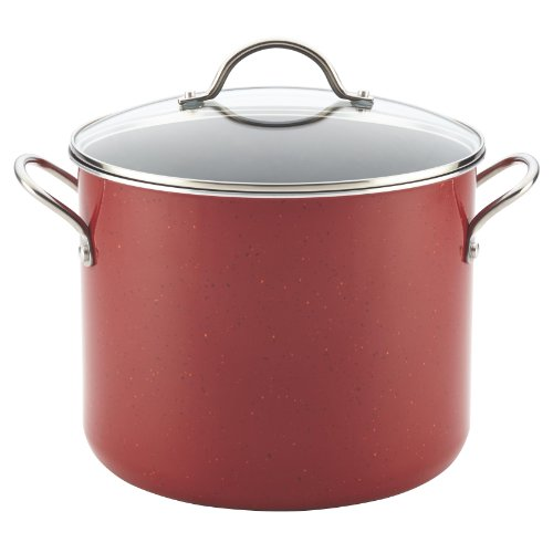Farberware New Traditions Speckled Aluminum Nonstick 12-Quart Covered Stockpot, Red with Black Interior