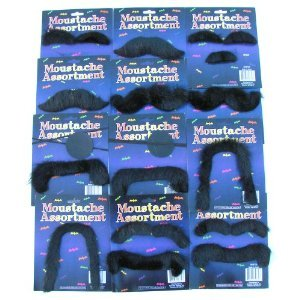 12 Self Adhesive Fake Moustaches Halloween Costume Party Gag-Assorted Shapes and Sizes