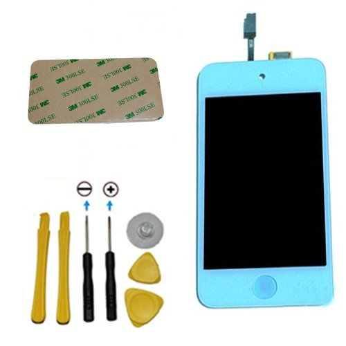 Yagadget Light Blue Ipod Touch 4Th Generation Digitizer + Lcd Full Assembly + Home Button + 7 Piece Tool Kit + 3M Adhesive