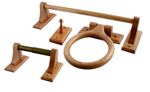 LDR 165 9955 Rustic Oak 4 Piece Bathware Set including 24-Inch Towel Bar, Towel Ring, Robe Hook and Toilet Paper Holder