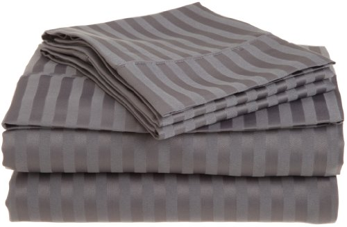 Impressions 1500 Series Wrinkle Resistant Queen 4-Piece Sheet Set Stripe, Silver front-859223