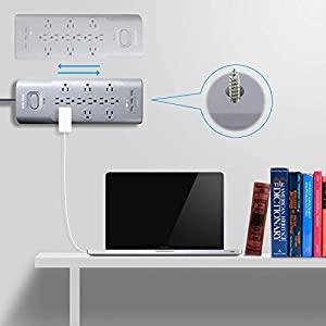 HOLSEM 12 Outlets Surge Protector Power Strip with 3 Smart USB Charging Ports (5V/3.1A) and 6' Heavy Duty Extension Cord, Grey (Color: Grey 12 Outlets + 3 USBs)