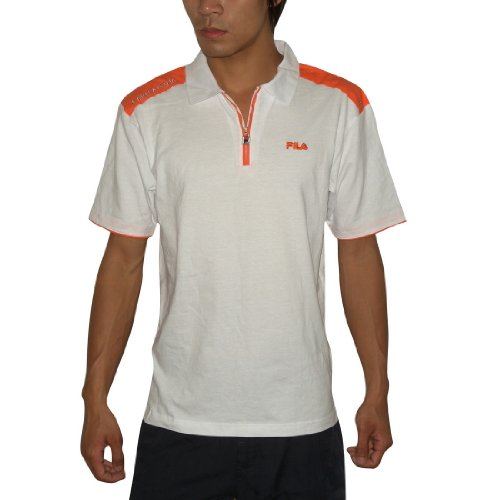 Mens Fila Italia Athletic Comfortable Fit Short Sleeve Jersey Polo Shirt - White & Orange -Size: M