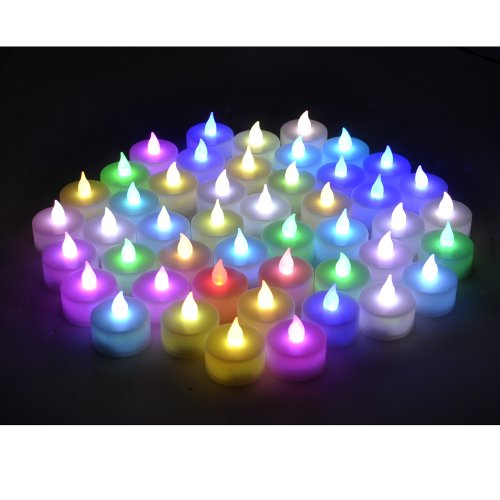 Instapark® Lcl-C48E Battery-Powered Flameless Color-Changing Led Tealight Candles, Four Dozen Pack With 48 Extra Batteries