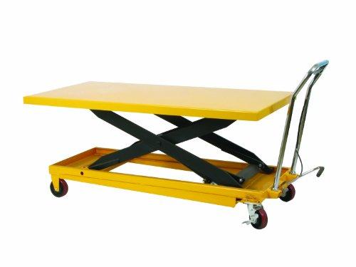 Wesco 273261 Long Scissors Lift Table with Handle, Polyurethane Wheels, 1100 lbs Load Capacity, 38