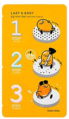 Holika Holika - Lazy & Easy - Pig Nose Clear - 1 x Black Head 3-Step Kit (Gudetama Edition) for men and woman - Face - Cleansers & Exfoliators - Facial Care (Shark Tank Sleep Mask compare prices)