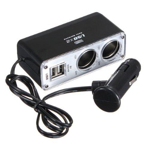 Foxnovo Wf-0023 Dual-Usb Output 2-Way Car Cigarette Lighter Socket Splitter Charger Adapter Black