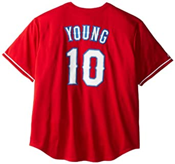 MLB Mens Texas Rangers Michael Young Scarlet Alternate Short Sleeve 6 Button... by Majestic