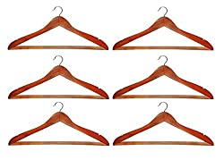 Atorakushon Pack Of 6 Pieces Wooden Hangers For Jeans Trousers Shirt Saree Salwar