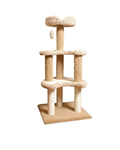 Carpeted Faux Sherpa Moon Cat Tree, Tan