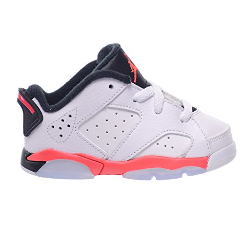 Jordan 6 Retro Low BT Toddlers Baby Infants Shoes White/Infrared 23-Black 768883-123 (5 M US)