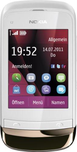 Nokia C2-02 Smartphone (6,6 cm (2,6 Zoll) Touchscreen, 2 Megapixel Kamera, Bluetooth) gold weiß