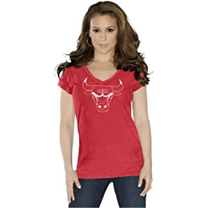 Chicago Bulls Ladies Field Goal V-Neck T-Shirt Red Touch by Alyssa Milano by Touch Alyssa Milano