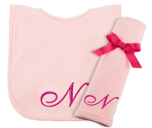 Princess Linens Embroidered Cotton Knit Bib and Burp Set - Pink, N