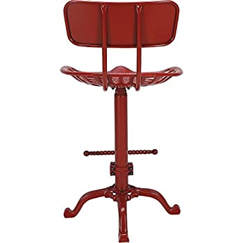 Farmhouse Tractor Seat Stool with Backrest, Red