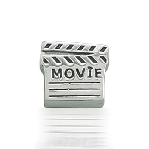 Bling Jewelry Movie Clap Board Bead 925 Sterling Silver Barrel Charm Bead Pandora Troll Compatible