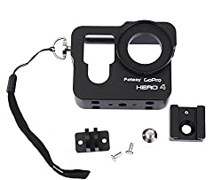 Fotasy CNC Aluminum Skeleton Rugged Cage Protective Housing Case for GoPro Hero 4