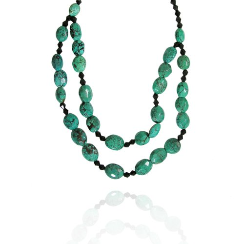 Turquoise Fancy-Shaped 12x16mm with Black Onyx Bead Necklace, 18+2