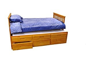 Bernards Honey Pine Captains Bed With Trundle And Storage from Bernards Inc- DROPSHIP
