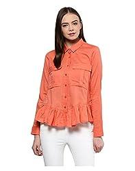 Yepme Women's Orange Blended Tops - YPWTOPS1385_XS