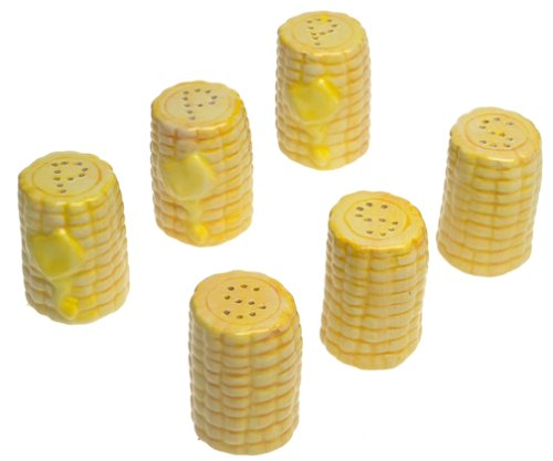 Boston Warehouse BBQ Corn Mini Salt & Pepper, Set Of 6