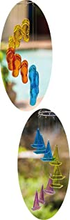 Flip Flop and Sailboat Glass Windchime Mobiles