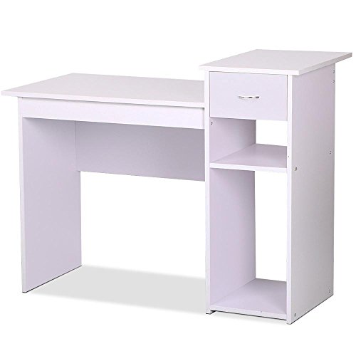 Yaheetech Home Office Small Wood Computer Desk with Drawers and Storage Shelves Workstation Furniture (White and lilac) (Small Glass Desk With Drawers compare prices)