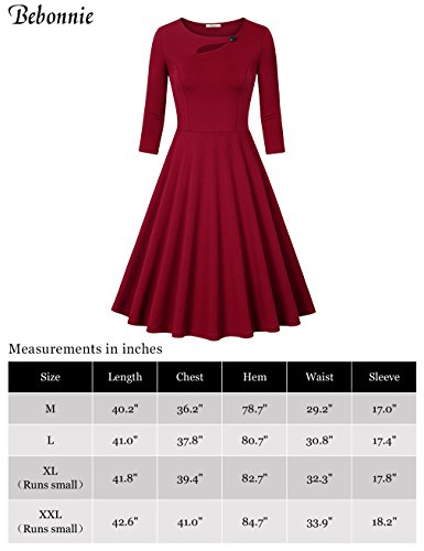 Bebonnie Women's 3/4 Sleeve Elegant Chic Bodycon Formal Dress(Size Runs Small,Suggest Choose One Size Larger) 4