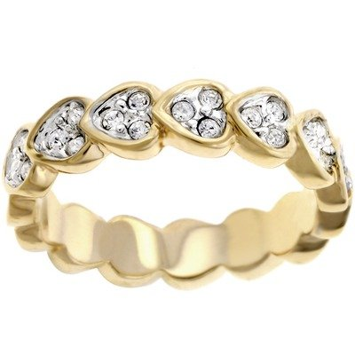 Gold-Tone Heart Shaped Cubic Zirconia Eternity Ring Size: 8