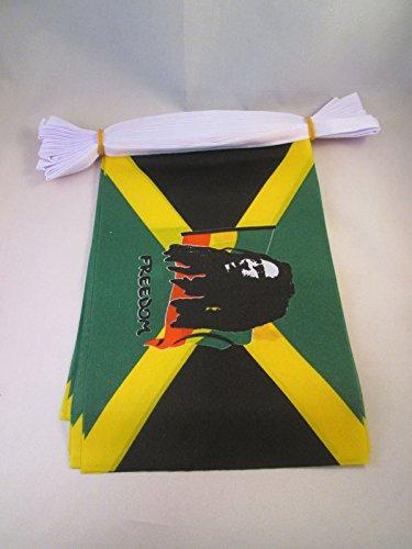GHIRLANDA 6 metri 20 BANDIERE BOB MARLEY 21x15cm - BANDIERA GIAMAICANA - GIAMAICA 15 x 21 cm - FESTONE BANDIERINE - AZ FLAG