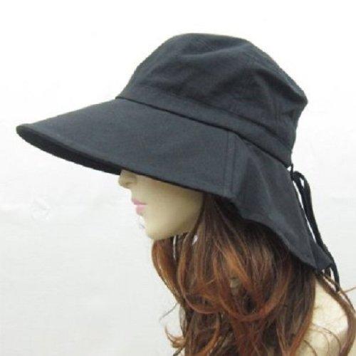 UVカット帽子 紫外線防止 つば広 レディースハット 婦人帽 Hat 550 黒 ブラック