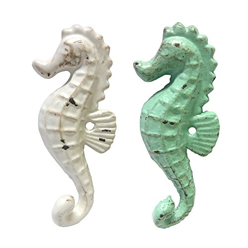 Cast-Iron-Seahorse-Wall-Hooks-Assorted-Colors-Set-of-2