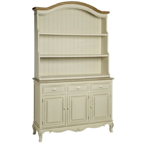 DISTRESSED CREAM KITCHEN DRESSER DISPLAY CABINET STORAGE UNIT RUSTIC STYLE SHABBY CHIC ANTIQUE AMBLESIDE (H7979) ** FULL RANGE OF MATCHING FURNITURE IS AVAILABLE **