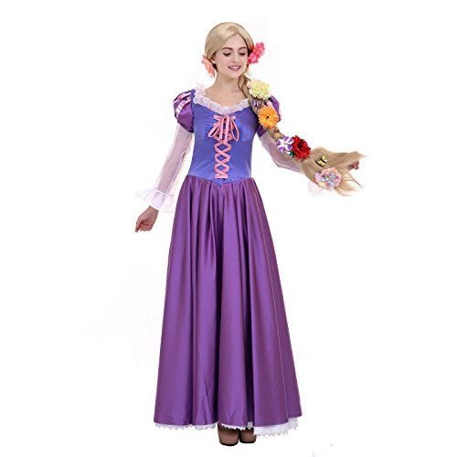 Angelaicos Womens Tangled Rapunzel Costume Deluxe Long Purple Dress