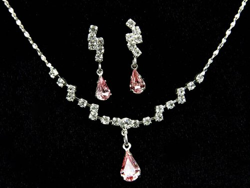 NECKLACE AND EARRING SET METAL CRYSTAL STONE PINK Fashion Jewelry Costume Jewelry fashion accessory Beautiful Charms