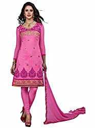 Jinal Fashion women's Chanderi Silk salwar suit Dress Material (Pink_color)
