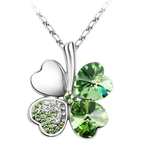 white-gold-plated-swarovski-crystal-heart-shaped-four-leaf-clover-pendant-necklace-green