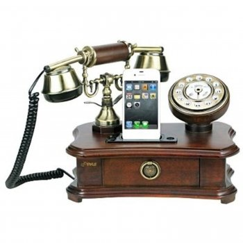 Pyle Authentic Classical Themed Home Telephone System - Integrated Speaker & 3.5Mm Audio Input J