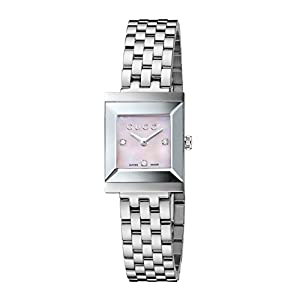 Gucci G-Frame Collection Women's Quartz Watch with Mother of Pearl Dial Analogue Display and Stainless Steel Bracelet YA128401
