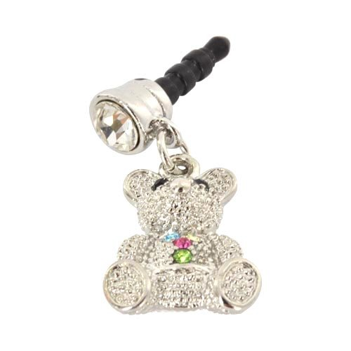 For Apple Iphone 4S 4 Galaxy S Cell Phones & Mp3S Silver Teddy Bear Multi Colored Gems Universal 3.5Mm Headphone Plug Charm
