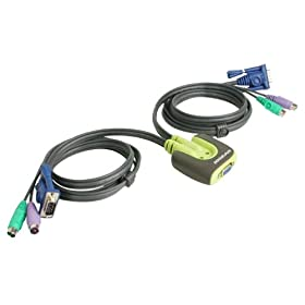 Iogear GCS62 2-Port MiniView Micro PS/2 KVM Switch with Cables