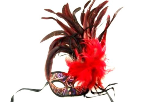Red Venetain Masquerade Mask - Beautiful Feathers With Acrylic Painted Swirls